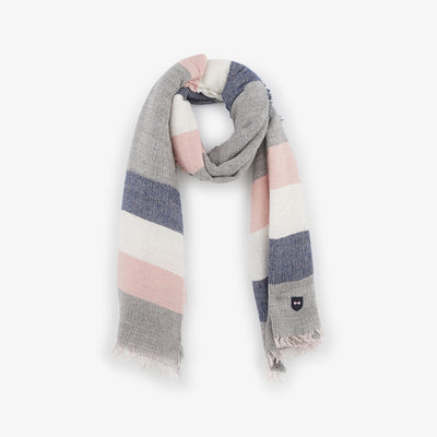 Grey scarf with tricolour stripes