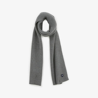 Grey ribbed cotton scarf