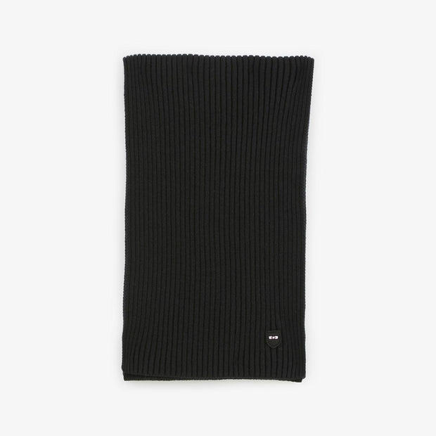 Black ribbed cotton scarf