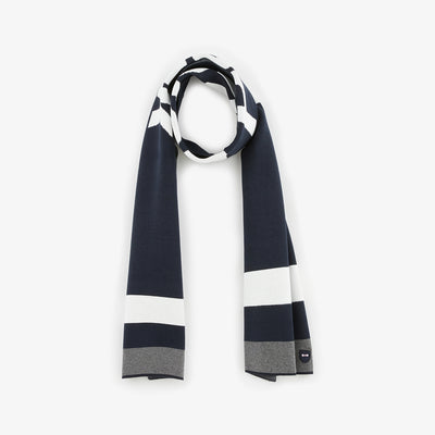 Navy blue cotton scarf with lettering