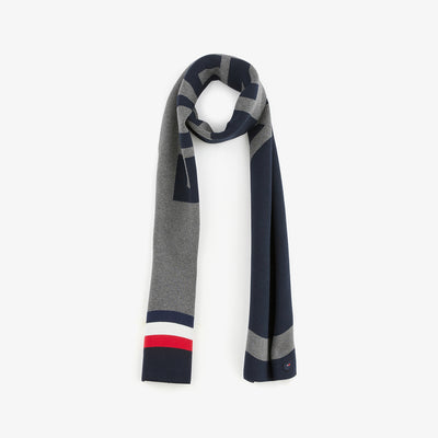 Rectangular navy color-block cotton scarf