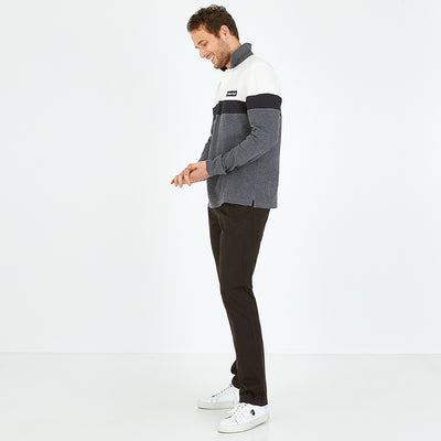 Charcoal grey stretch cotton chino trousers