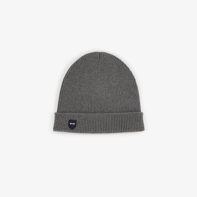 Grey ribbed cotton beanie