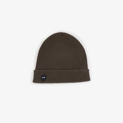 Khaki ribbed cotton beanie