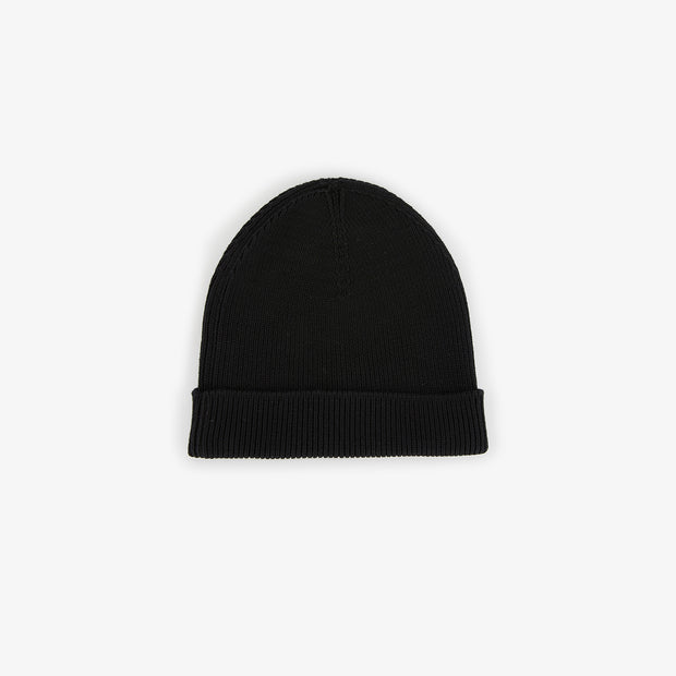 Black ribbed cotton beanie