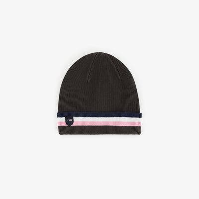 Khaki cotton beanie with tricolour turned edge