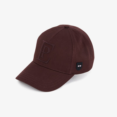 Embroidered solid burgundy cotton cap