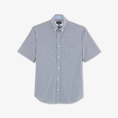 Short-sleeved navy blue gingham check cotton shirt