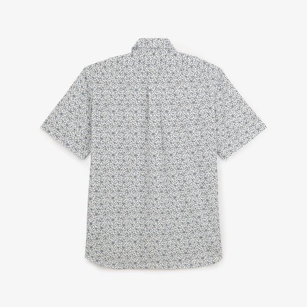 Short-sleeved floral print cotton poplin shirt