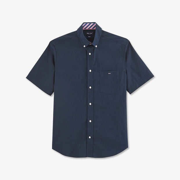 Short-sleeved embroidered navy cotton Décalé shirt