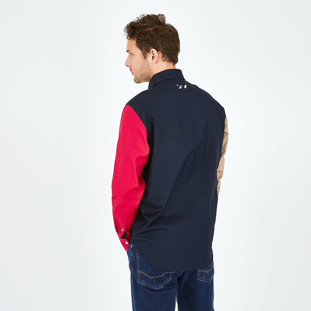 Navy cotton shirt with mismatched sleeves