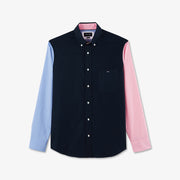 Blue cotton shirt with mismatched sleeves
