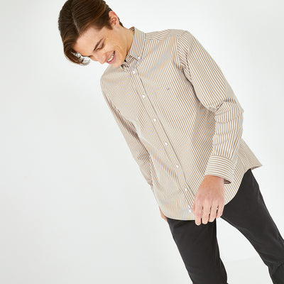 Striped beige cotton poplin shirt