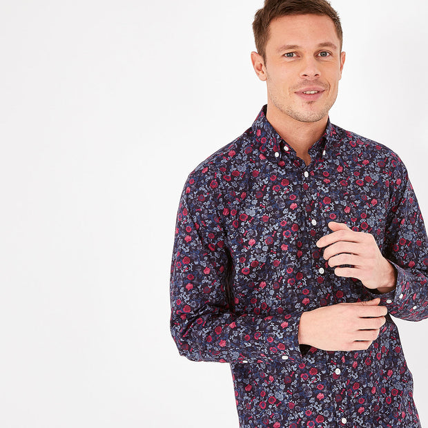 Floral navy blue Pima cotton shirt