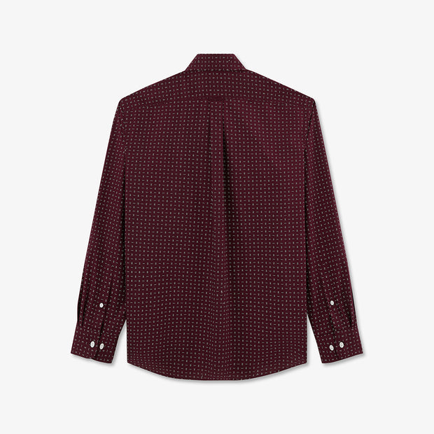 Burgundy Pima cotton shirt with bow tie pattern