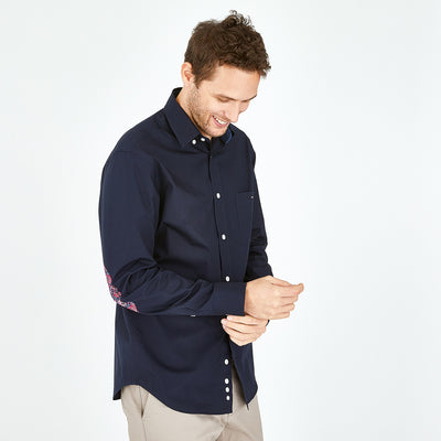 Navy blue cotton shirt with floral elbow patches
