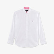 Stretch white cotton poplin shirt