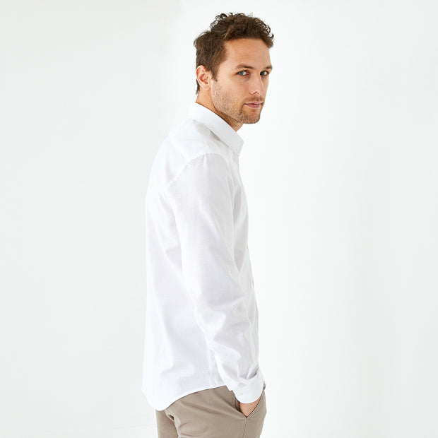 Slim fit solid white cotton piqué shirt