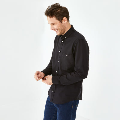 Slim fit solid black cotton piqué shirt