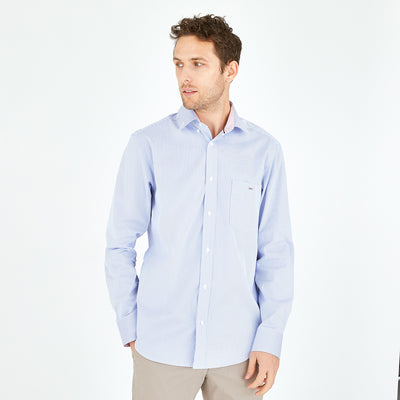 Striped sky blue cotton poplin shirt