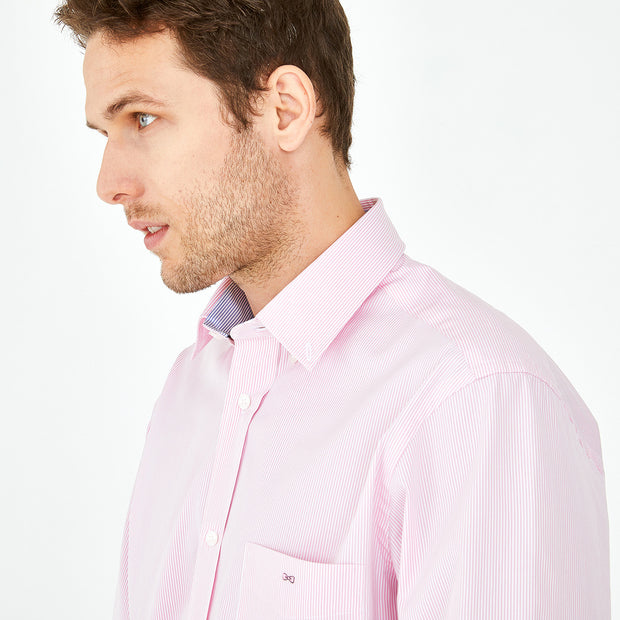 Striped pink cotton poplin shirt