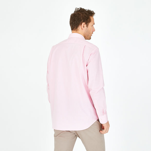 Pink cotton shirt with micro polka dot pattern