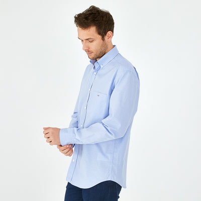 Sky blue striped cotton shirt with mini pattern