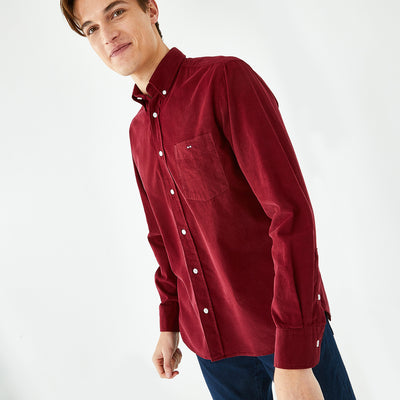 Solid burgundy cotton shirt