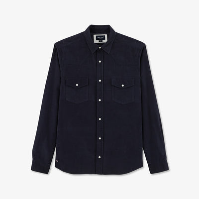 Slim fit navy blue cotton Western shirt
