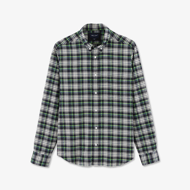 Slim fit neon green and black check shirt