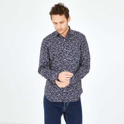Slim fit floral navy blue cotton shirt