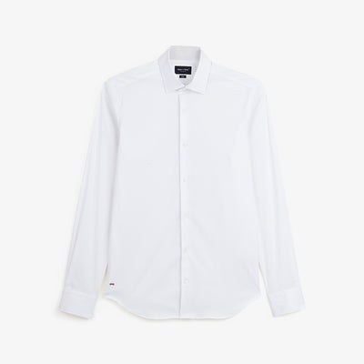Slim fit white stretch cotton shirt