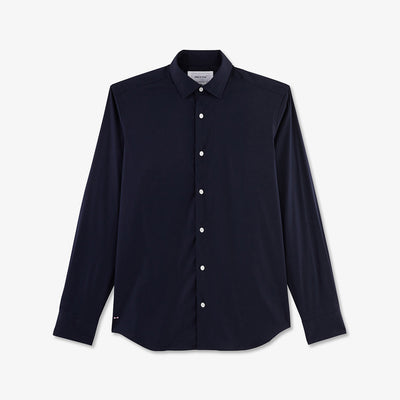 Slim fit navy blue stretch cotton shirt