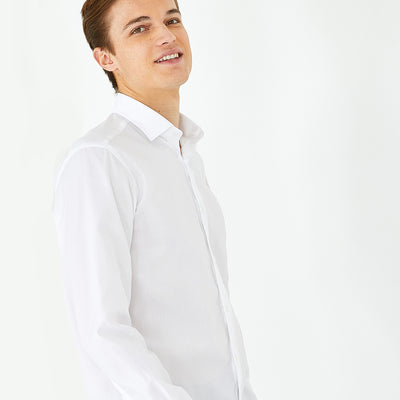 Slim fit white cotton dress shirt