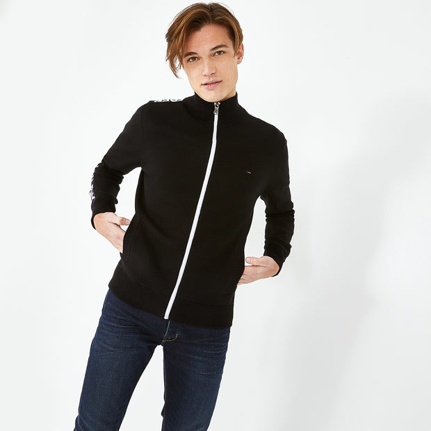 Black cotton cardigan with signature bands
