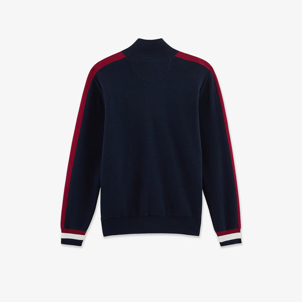 Navy blue cotton cardigan with coloured bands