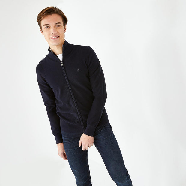Solid navy blue textured cotton zip cardigan