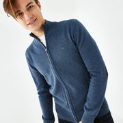 Blue Merino wool-and-mixed-fabric-and-mixed-fabric Cambridge cardigan