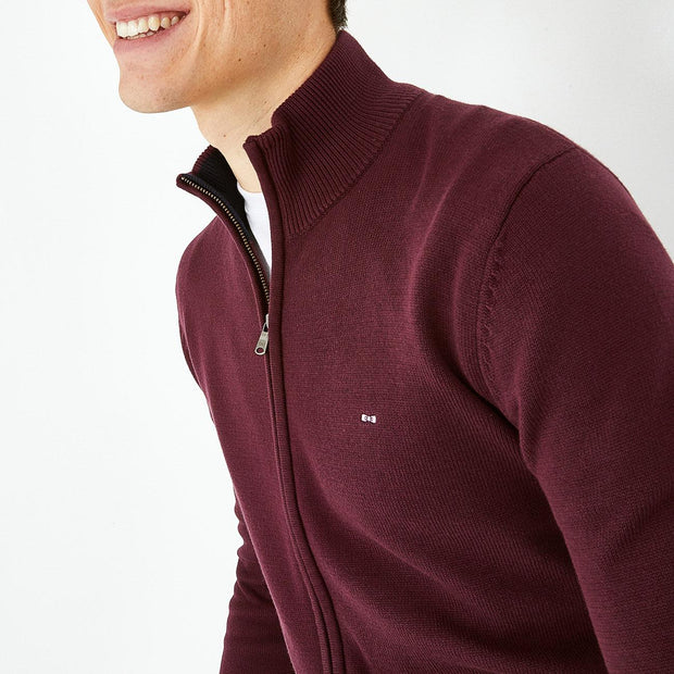 Solid burgundy cotton zip cardigan