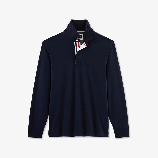 Navy cotton rugby shirt with tricolour accents