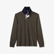 Khaki cotton rugby shirt with tricolour accents