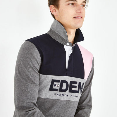 Embroidered grey pink color-block cotton rugby shirt