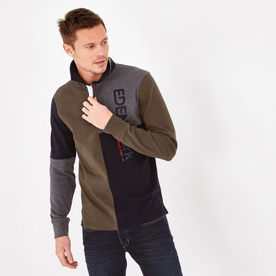 Embroidered khaki color-block cotton rugby shirt