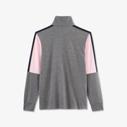 Embroidered pink color-block cotton rugby shirt
