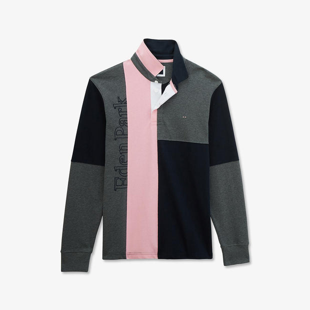 Pink cotton color-block rugby shirt