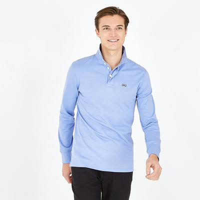 Pima blue rugby shirt with striped underside of collar