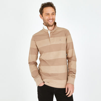 Beige cotton rugby shirt with striped sleeves