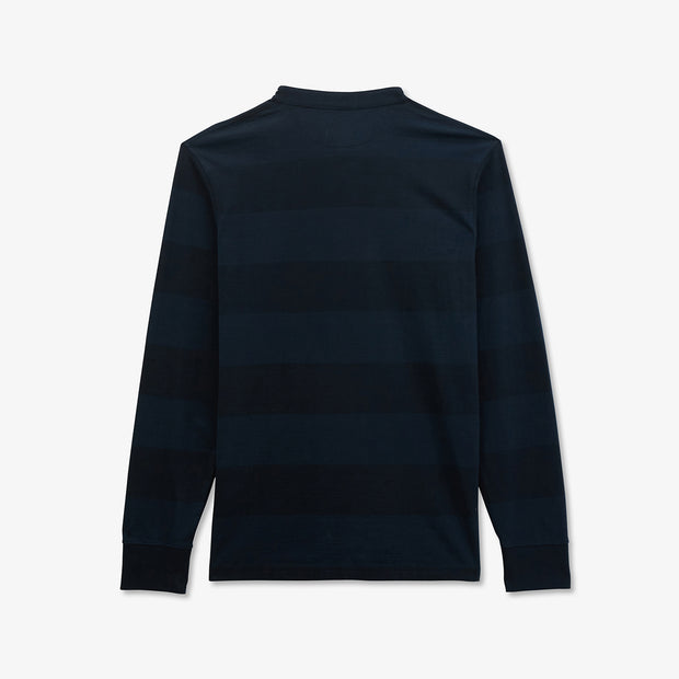 Navy blue cotton rugby shirt with striped sleeves