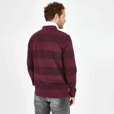 Burgundy cotton rugby shirt with striped sleeves