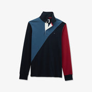 Slim fit color-block cotton rugby shirt